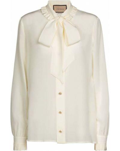Biały jedwab bluzka zabytkowe Gucci