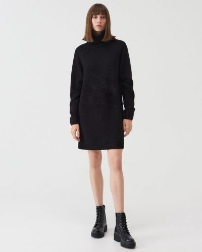 Хлопковое черное платье Sinsay