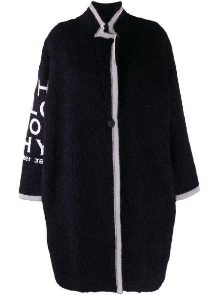 Черное длинное пальто из альпаки свободного кроя Philosophy Di Lorenzo Serafini