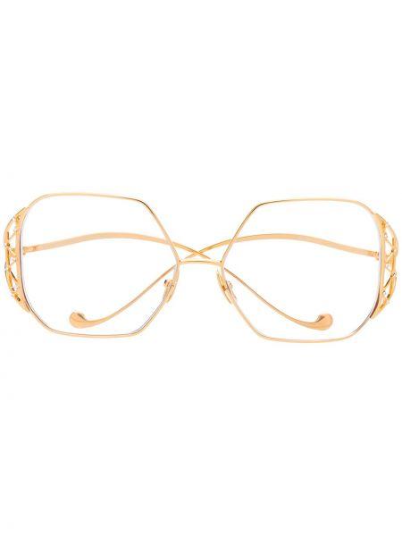 Желтые очки металлические оверсайз прозрачные Anna Karin Karlsson