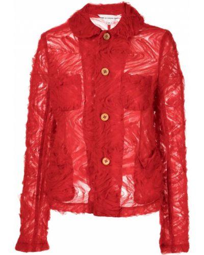 Однобортный красный удлиненный пиджак с воротником Comme Des Garçons Girl