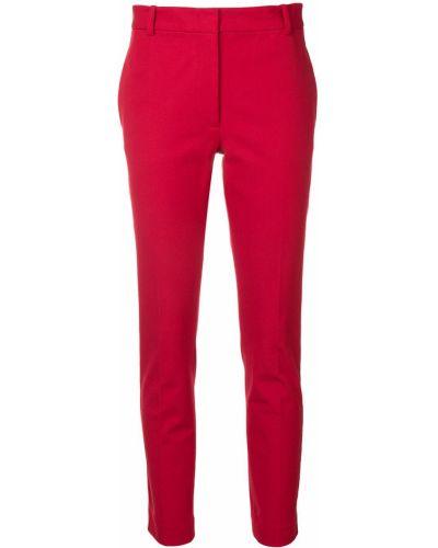 Красные хлопковые классические брюки с поясом Joseph