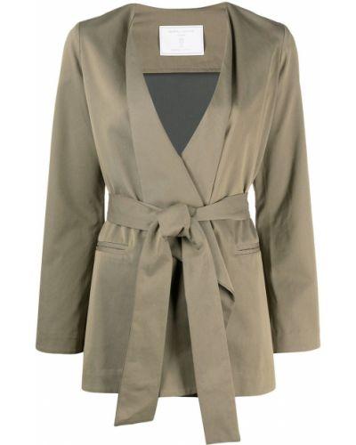 Зеленый удлиненный пиджак с поясом с запахом SociÉtÉ Anonyme