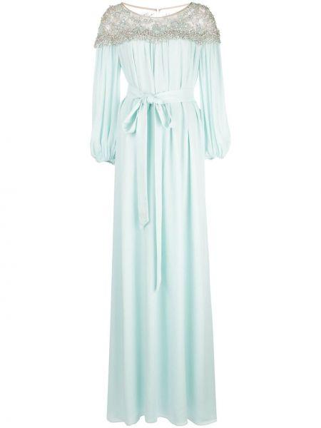 Синее шелковое платье макси Marchesa