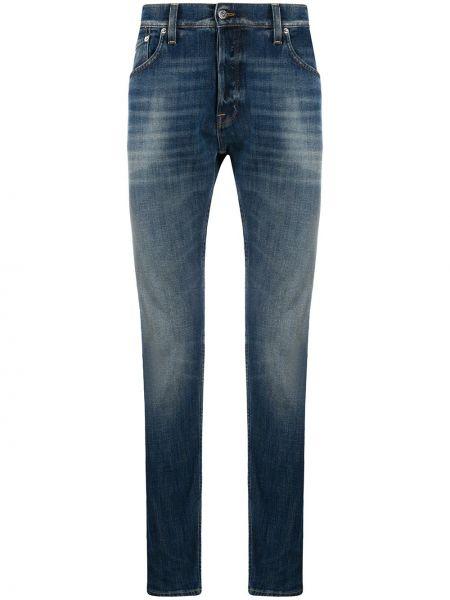 Klasyczny niebieski jeansy o prostym kroju z paskiem z łatami Department 5