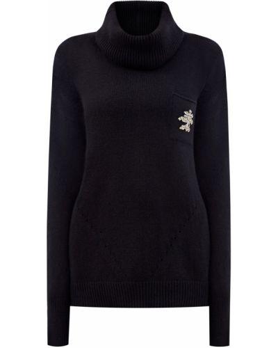 Черный шерстяной свитер с воротником Ermanno Scervino