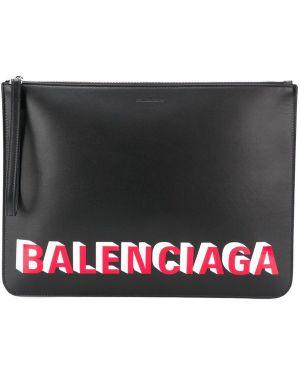 Кожаный черный клатч на молнии Balenciaga