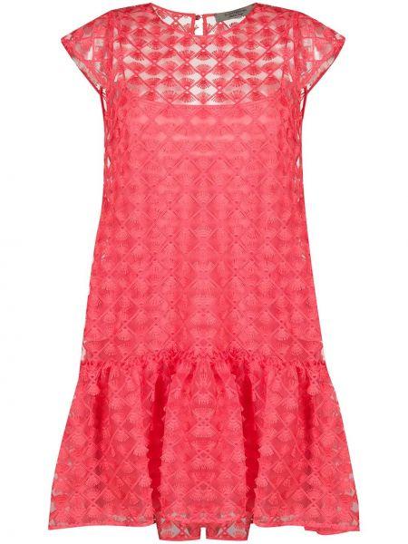 Красное кружевное платье с вышивкой D.exterior