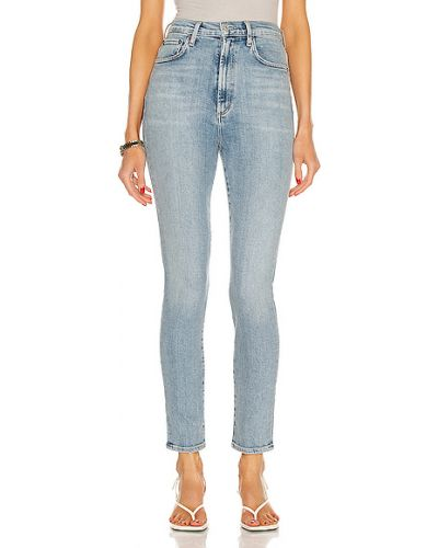 Niebieskie jeansy rurki bawełniane vintage Agolde