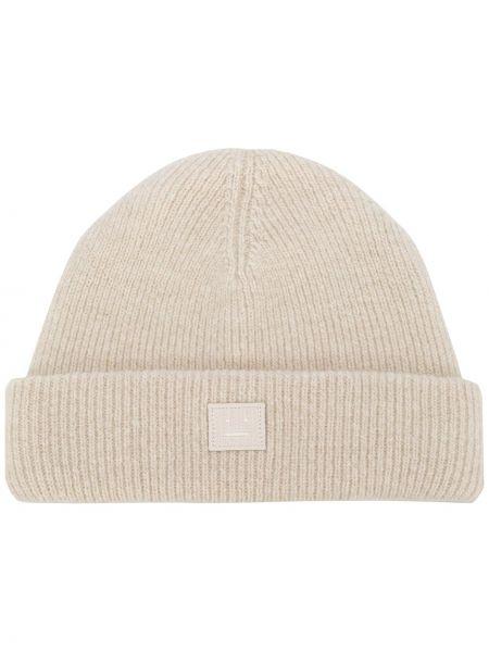 Trykotowy kapelusz z logo beżowy Acne Studios