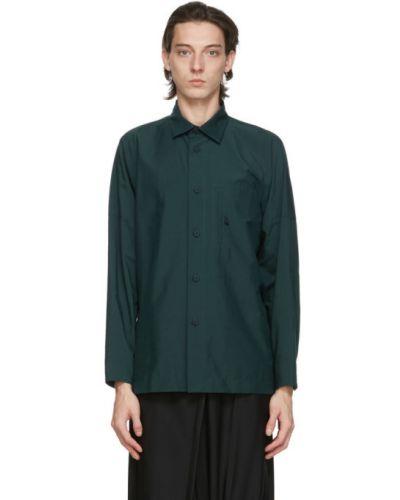 Zielona koszula bawełniana z długimi rękawami 132 5. Issey Miyake