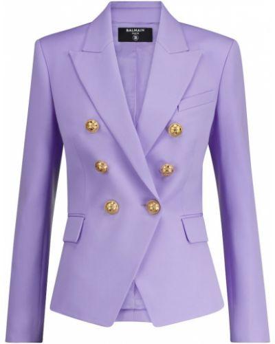 Шерстяной малиновый пиджак двубортный Balmain