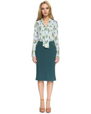 Zielona spódnica maxi z wysokim stanem elegancka Stylove