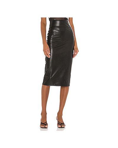 Черная кожаная юбка с разрезом Enza Costa
