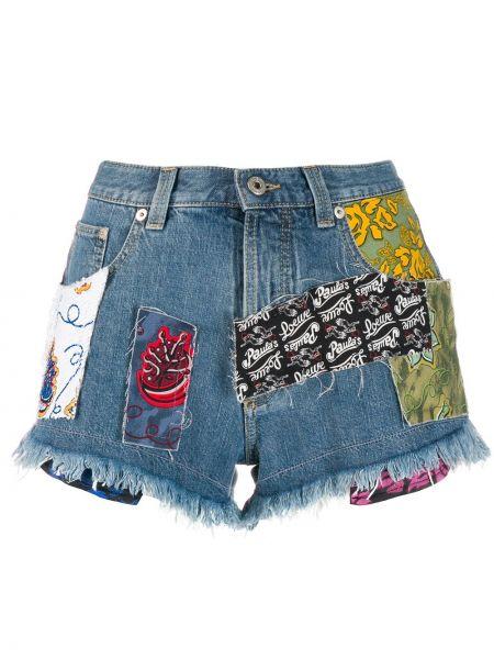 Джинсовые шорты с карманами со стразами на пуговицах Loewe