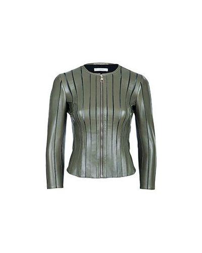 Кожаная куртка - зеленая Versace Collection