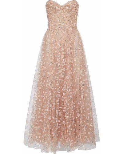 Платье миди из фатина - розовое Monique Lhuillier