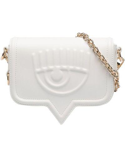 Biała torebka na łańcuszku skórzana Chiara Ferragni