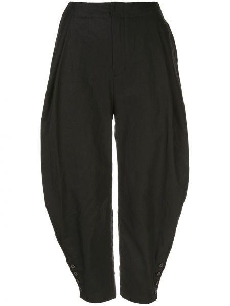 Черные укороченные брюки с поясом Renli Su
