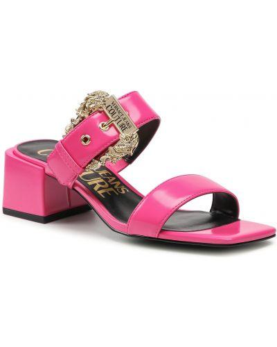 Klapki - różowe Versace Jeans Couture