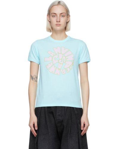 Синяя футболка с воротником с вышивкой Lanvin