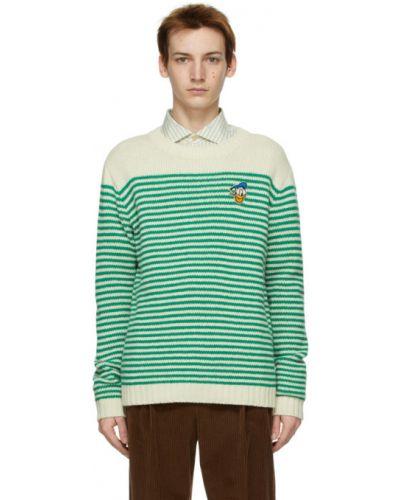Zielony kaszmir długi sweter z kołnierzem Gucci