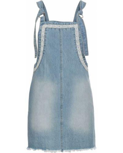 Джинсовое платье с бахромой ажурное Bonprix