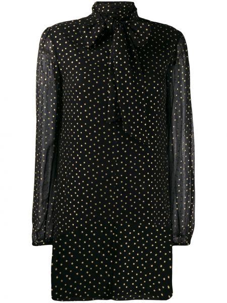 Платье мини с прозрачными рукавами шелковое Saint Laurent