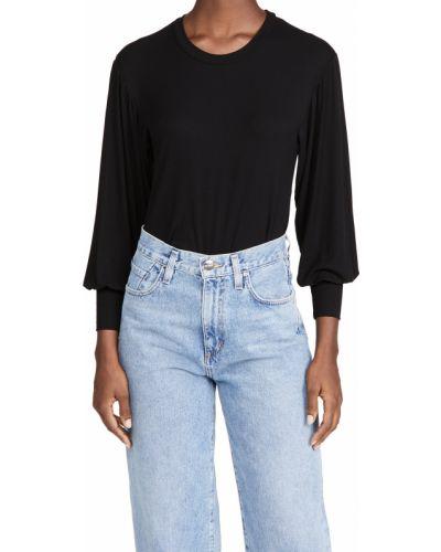 Prążkowany czarny t-shirt z długimi rękawami Only Hearts