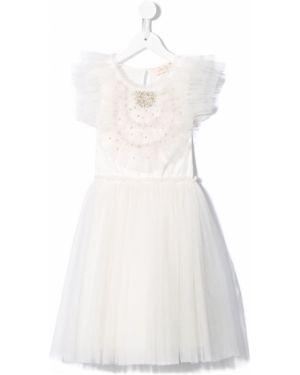 Белое пышное платье с вырезом круглое с декоративной отделкой Tutu Du Monde