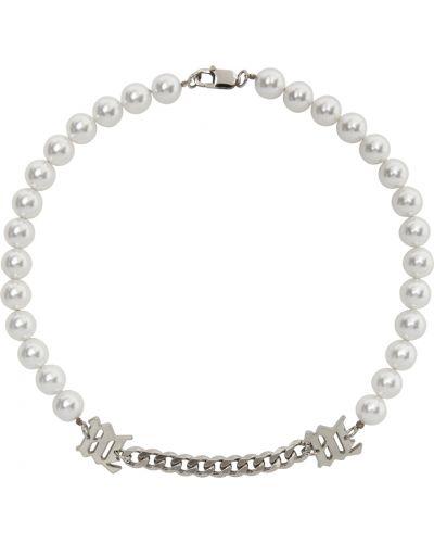 Biały naszyjnik łańcuch perły srebrny Misbhv