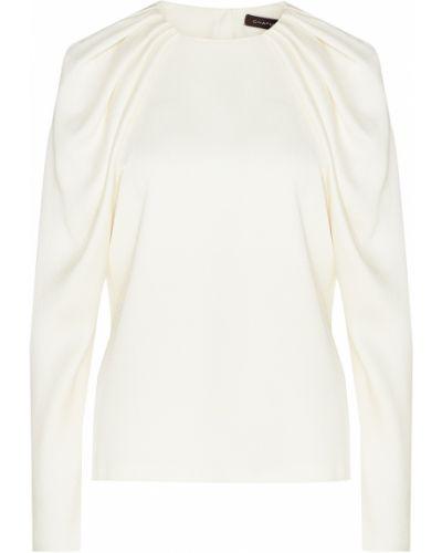 С рукавами белая блузка из вискозы Chapurin