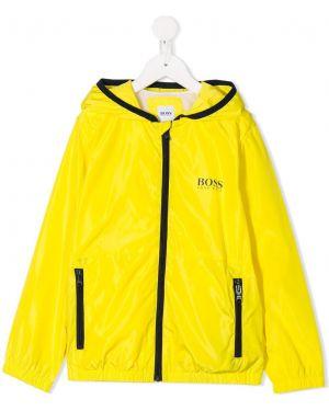 Желтая длинная куртка Boss Kids
