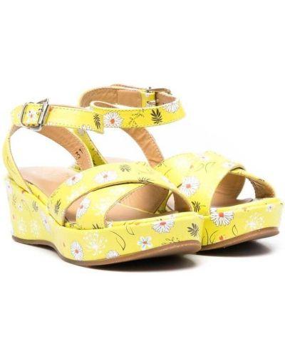 Żółte sandały skorzane płaska podeszwa Gallucci Kids
