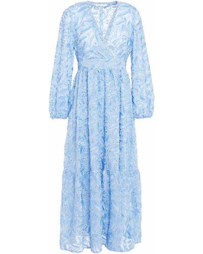 Шифоновое синее платье миди с подкладкой Maje