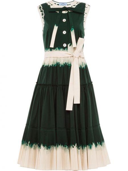 Платье миди на пуговицах без рукавов с вырезом круглое Prada