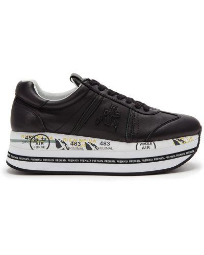 Кожаные кроссовки черные с логотипом Premiata