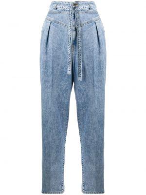 Хлопковые розовые прямые джинсы с карманами на пуговицах Pinko