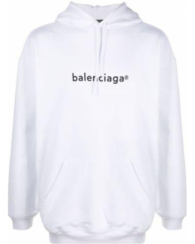 Biała bluza z kapturem bawełniana Balenciaga