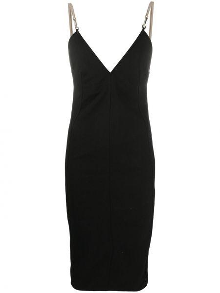 Czarny z paskiem sukienka midi na paskach z wiskozy Rick Owens