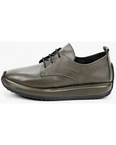 Зеленые кожаные кроссовки Thomas Munz