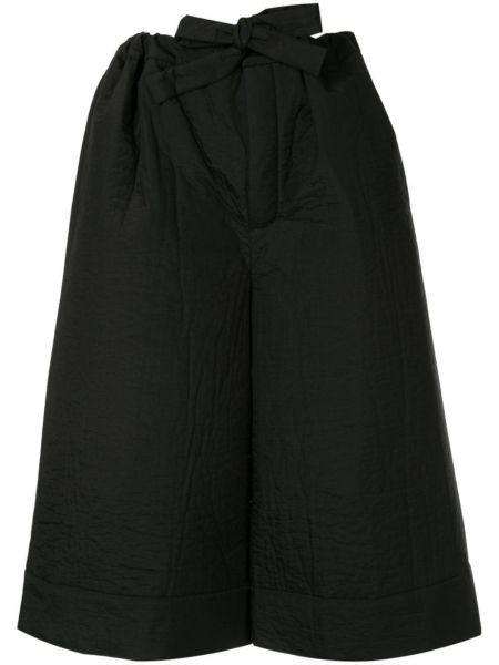Черные расклешенные брюки с завязками с высокой посадкой Nehera