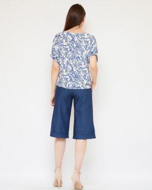 Повседневная с рукавами хлопковая блузка с круглым вырезом Fiato