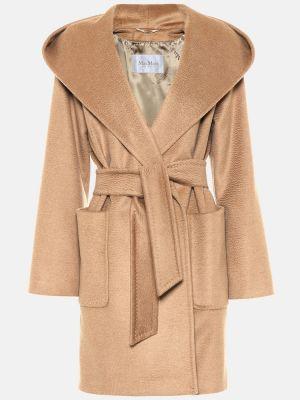Бежевое шерстяное пальто классическое Max Mara