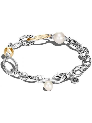 Biała złota bransoletka łańcuch perły John Hardy