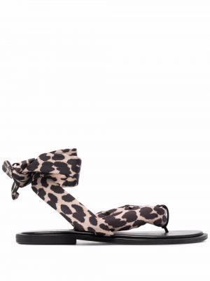 Czarne sandały plaskie skorzane Ganni