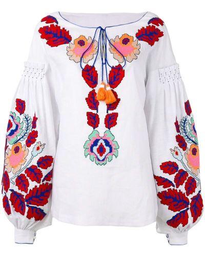 Блузка с пышными рукавами с вышивкой Yuliya Magdych