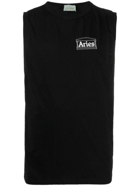 Хлопковая черная футболка с вырезом Aries