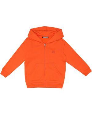 Ватная хлопковая оранжевая толстовка Acne Studios Kids
