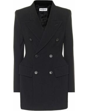Шерстяной черный прямой пиджак Balenciaga